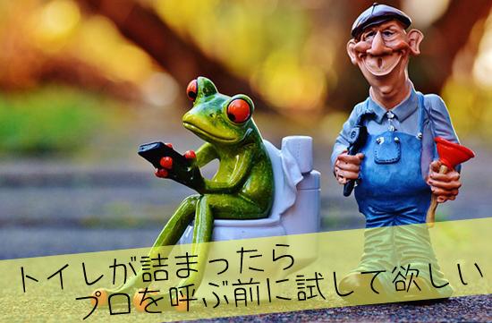 トイレに座るカエルと修理工