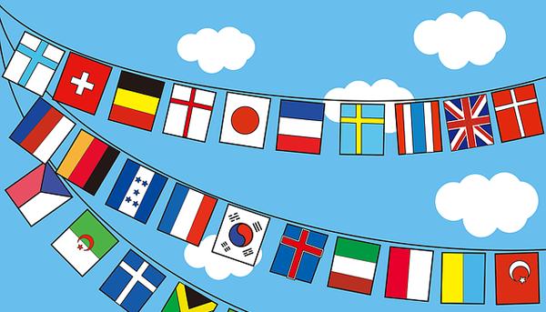 万国旗が並ぶイラスト